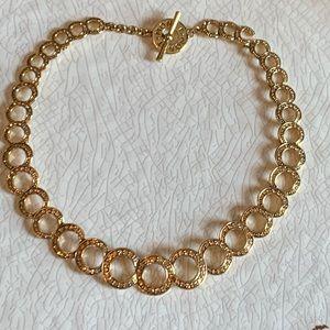 "Monet Amber Yellow Rhinestone Circle Necklace 18"""